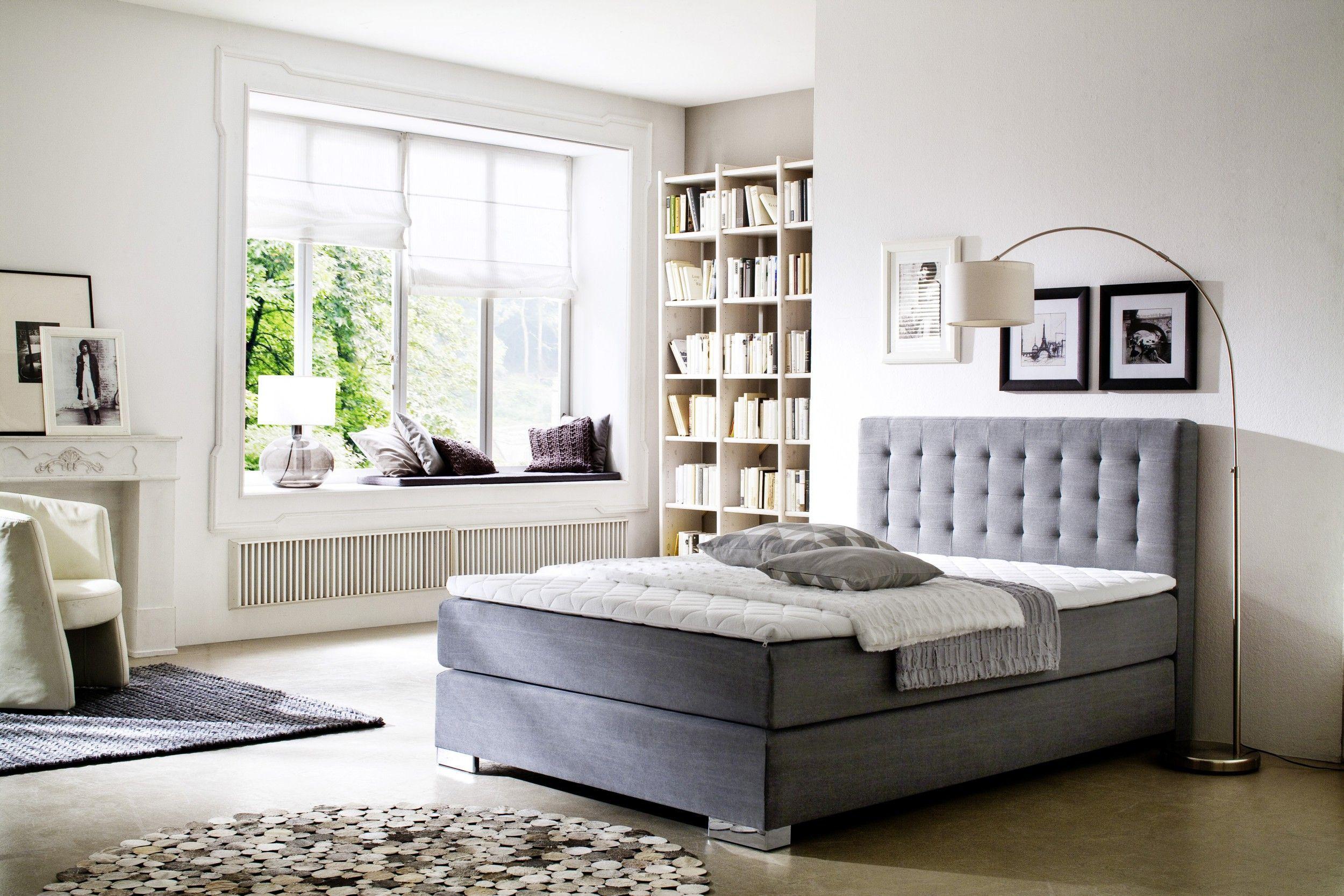 Dieses Hochwertige Graue Boxspringbett Bietet Ihnen Schlafkomfort