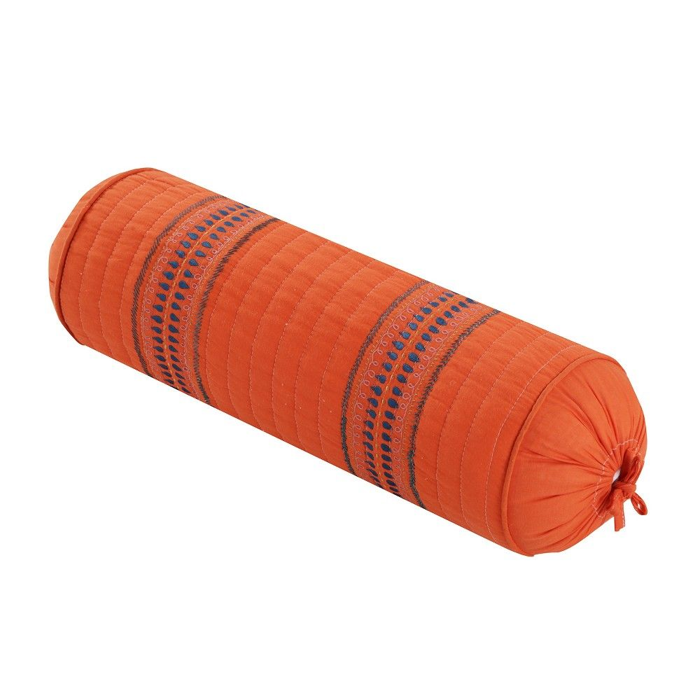 Excellent 7X22 Ilana Embroidered Neckroll Pillow Orange Homthreads Frankydiablos Diy Chair Ideas Frankydiabloscom
