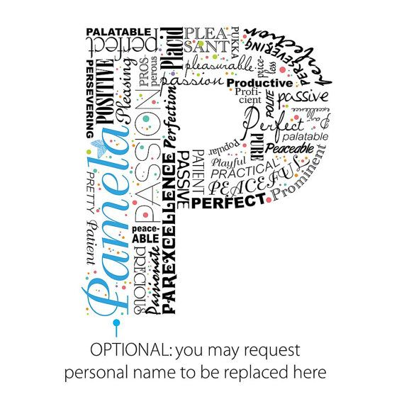 Positive Words Start With Letter P Alphabet P Monogram  Art