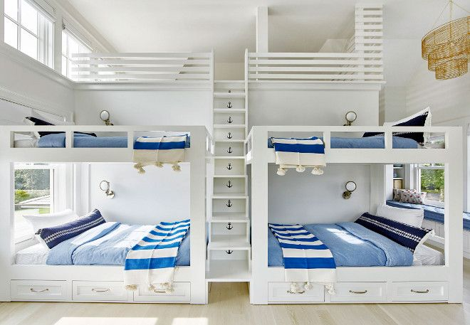 Bunk Room With Loft Bunk Room With Four Beds Storage Under Bunk Beds And A Built In Ladder Between Bunk Be Bunk Beds Built In Bunk Rooms Beach House Interior