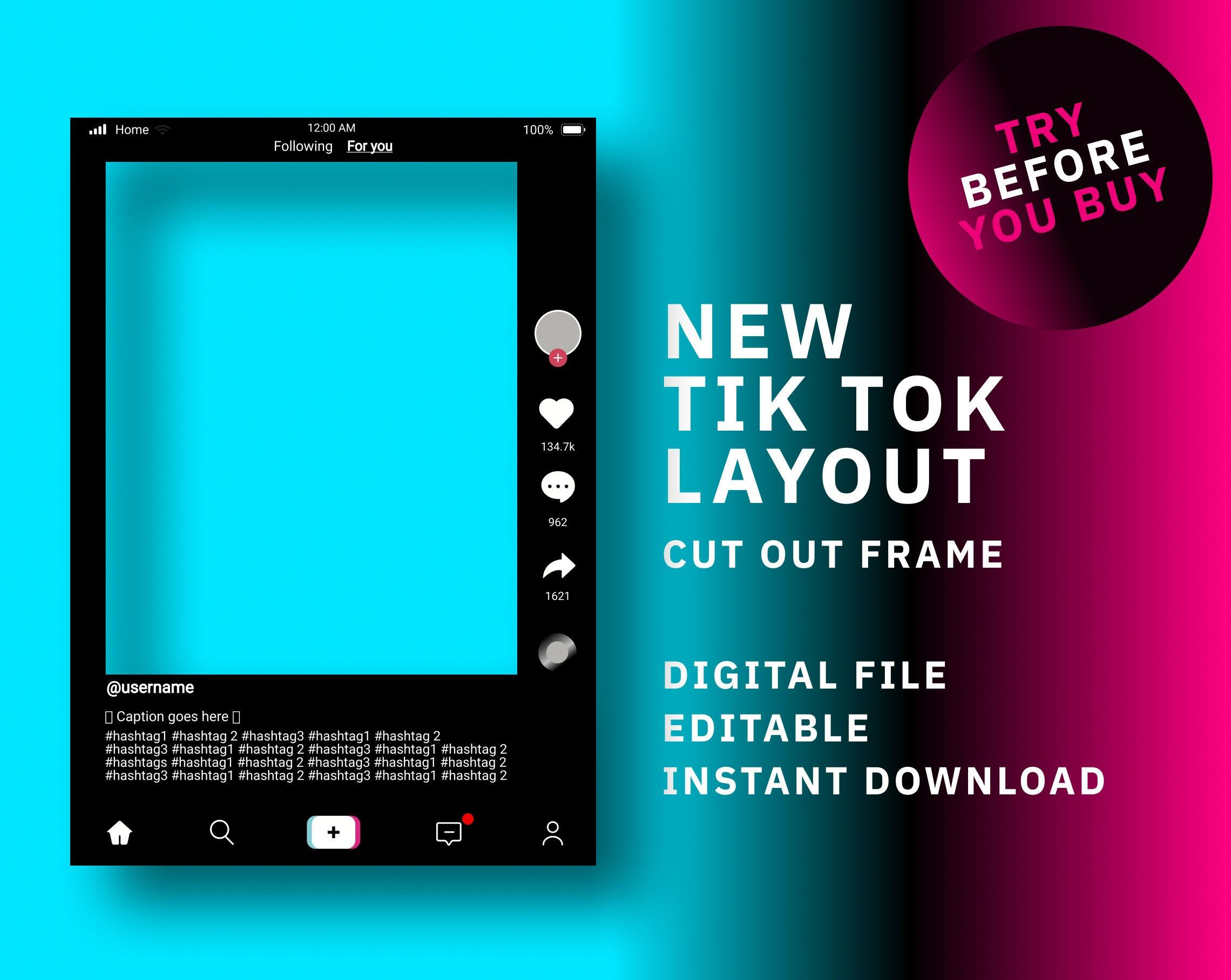 Excited To Share The Latest Addition To My Etsy Shop Tik Tok Frame Template Tik Tok Frame Instant Dow Photo Booth Frame Frame Props Instagram Frame Template