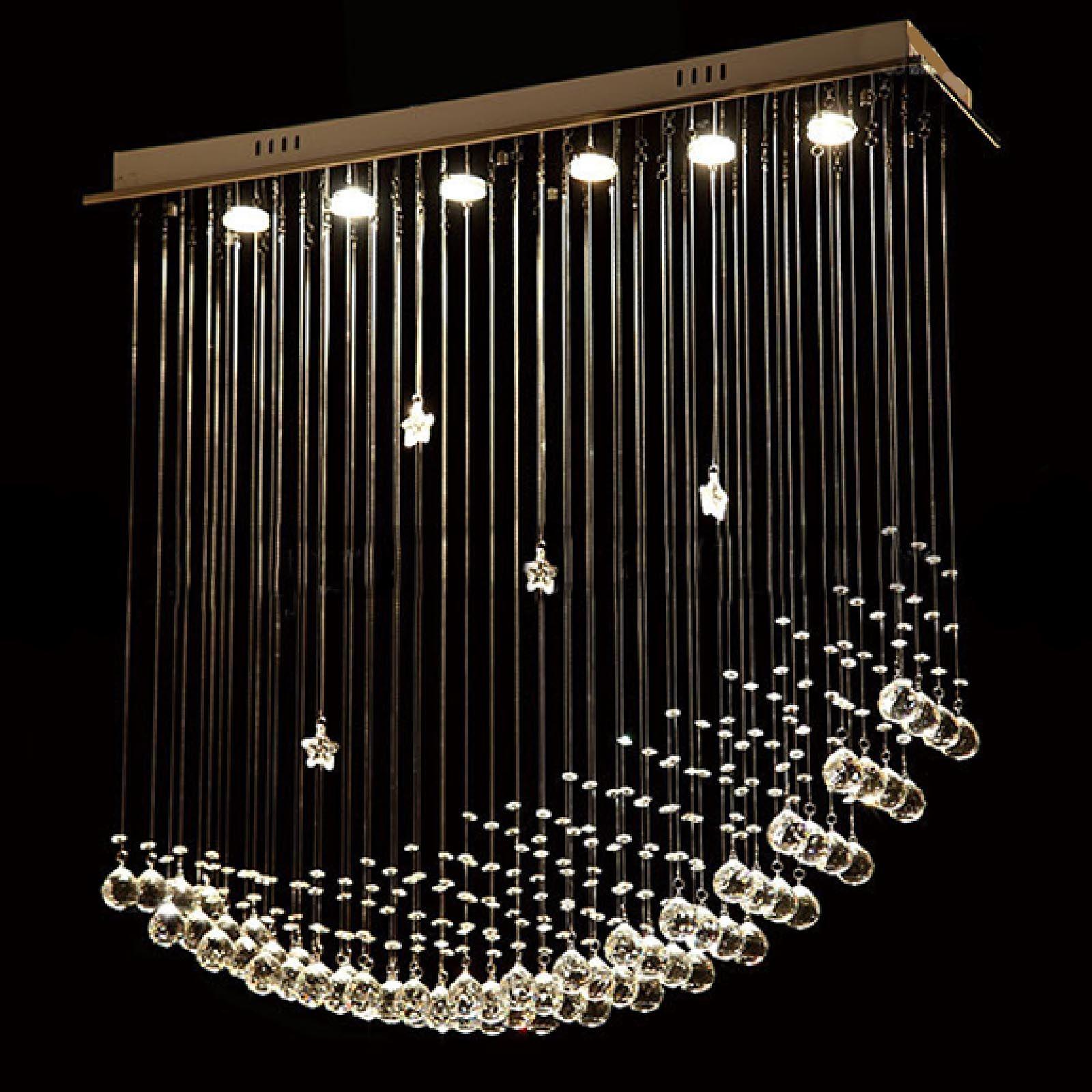 BYB® Modern Chandelier Rain Drop Lighting Crystal Ball Fixture Pendant  Ceiling Lamp, Moon U0026