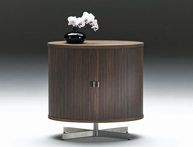 Interiors Furniture Aero Oval Walnut Drinks Cabinet By