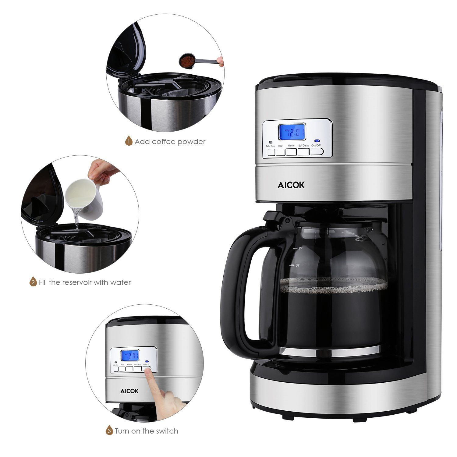 Aicok Coffee Maker 12 Cups Programmable Coffee Maker With Timer