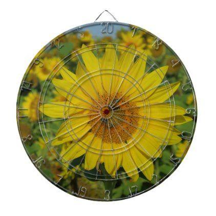 yellow sun flower summer blossom dartboard - home decor design art diy cyo custom