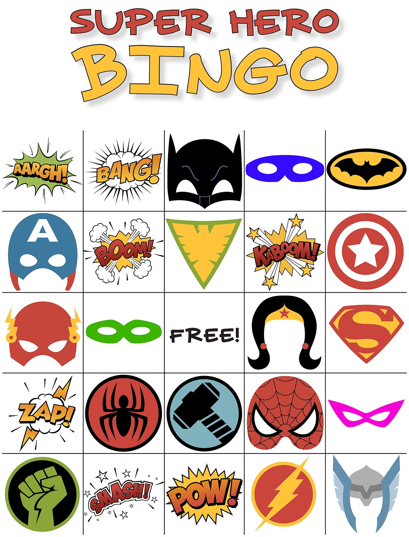 Free Printable Super Hero BINGO Party #superherocrafts