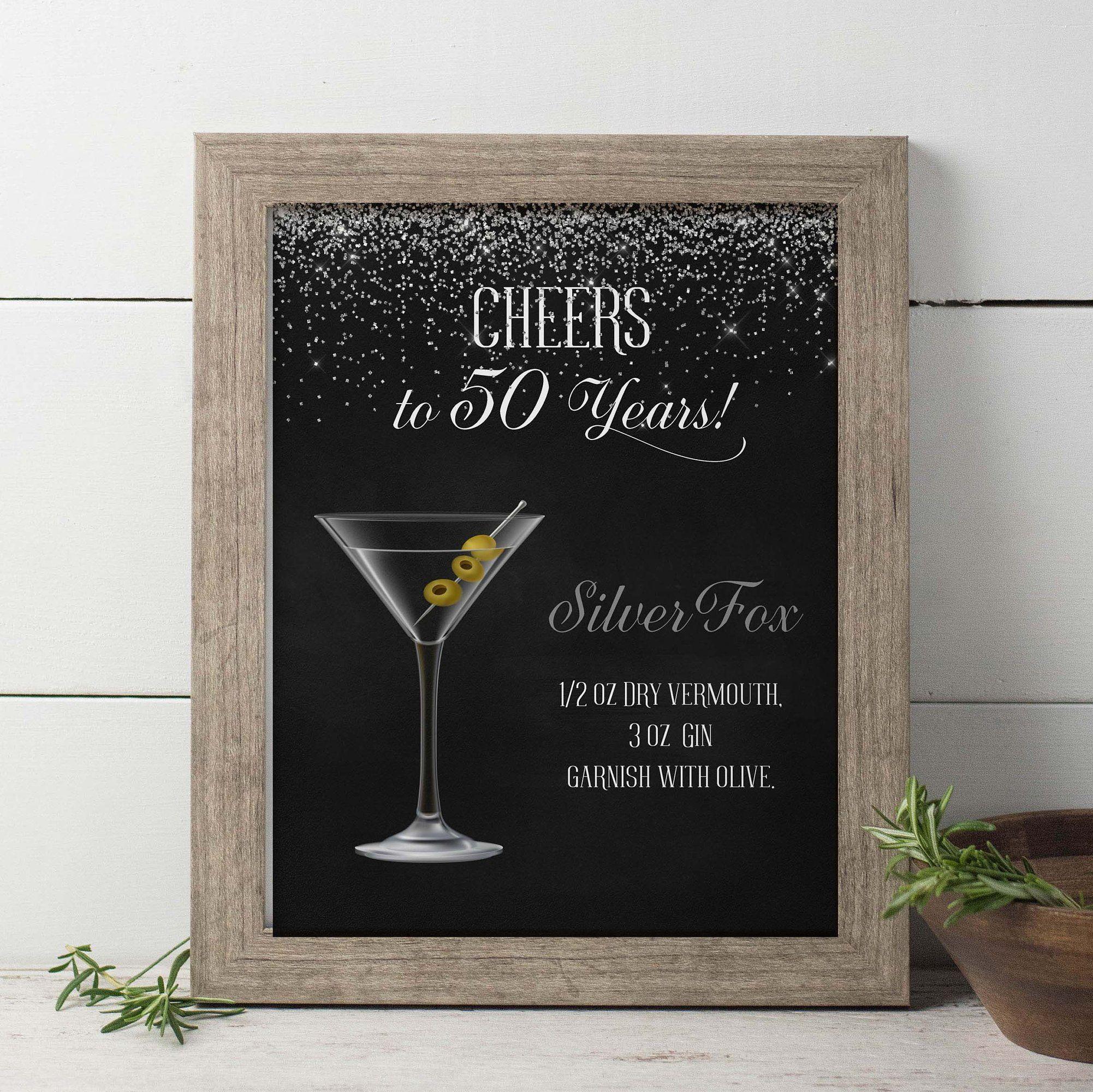 Birthday Signature Drinks Sign Printable, Silver Birthday