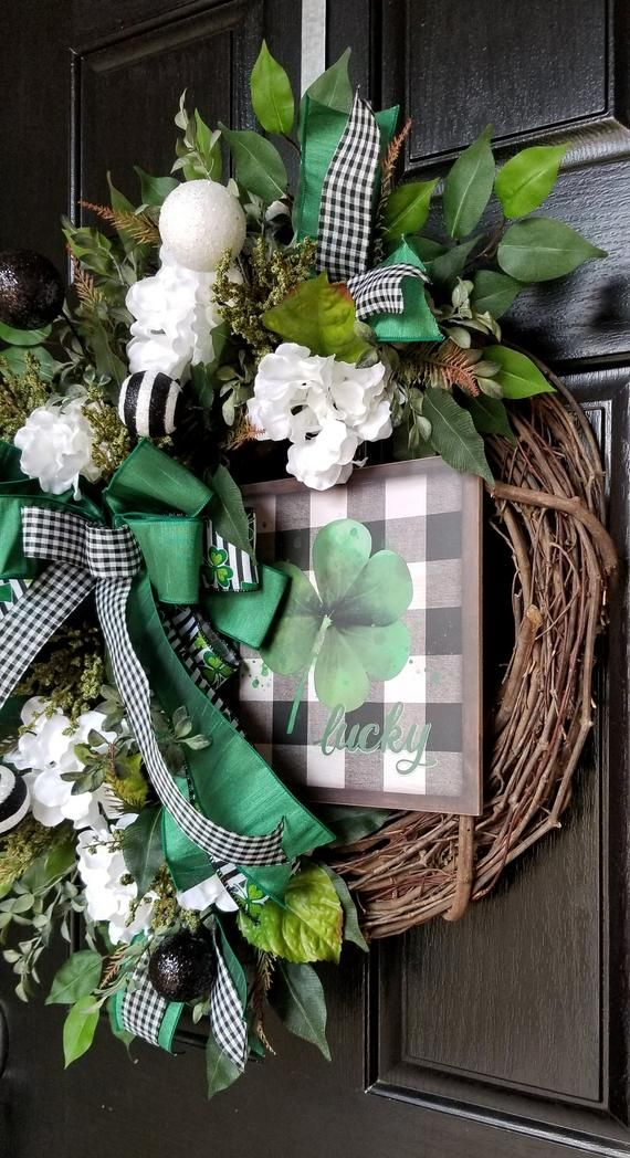 Photo of Wreaths for the front door, St. Patrick's Day wreath, Lucky Irish Wreath, St. Patty wreath, St. Patrick & # 39; s