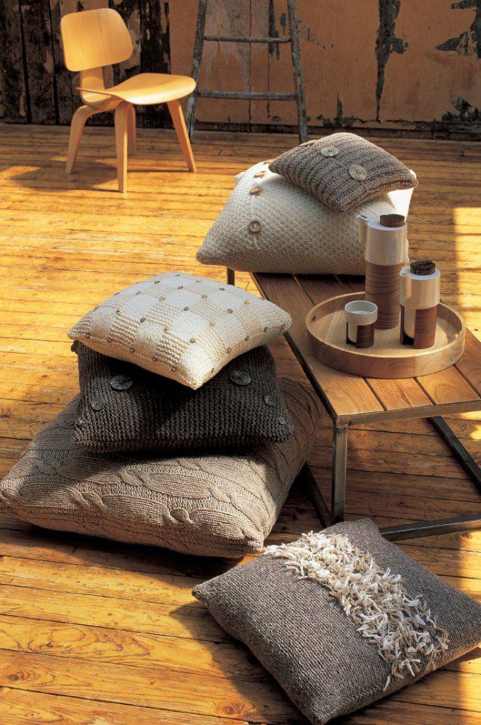 Des housses de coussins tricot es en laine naturelle tricot knitted cushions tricot crochet - Housses de coussins ...
