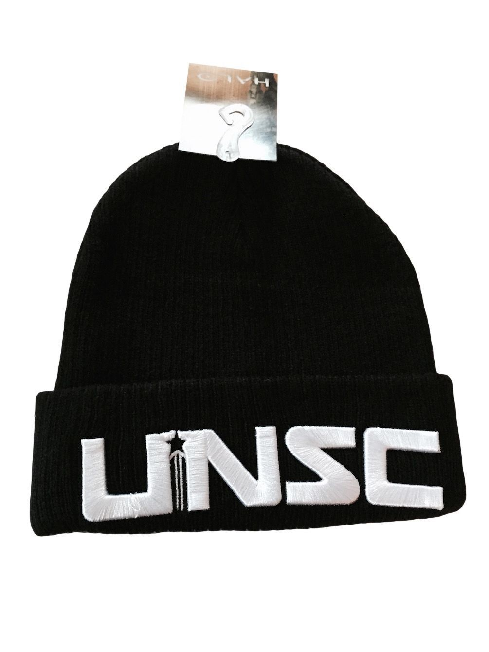23d9cfa2043 Halo 5 UNSC Embroidered Embossed Logo Black Knit Cuffed Beanie Hat New With  Tags