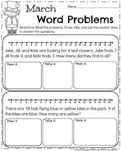 March First Grade Worksheets | Word problems, March and Worksheets