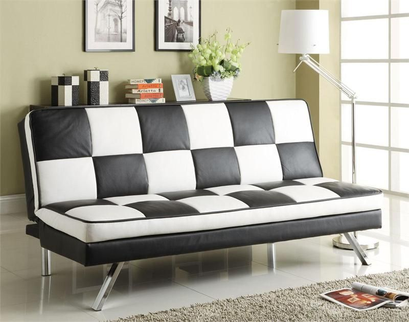 Modern Black White Checkered Futon Sofa Bed