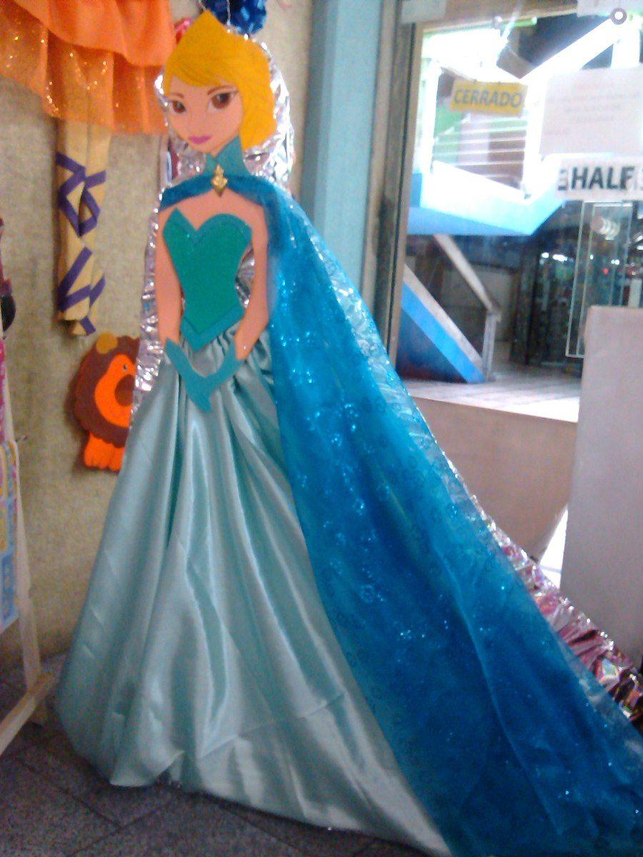 Pinata Tela Elsa Frozen 150mt Alto Vestidas Silueta 17421