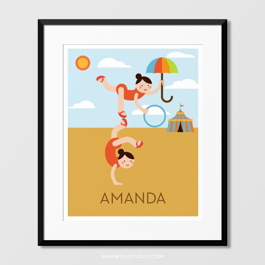 Circus Acrobats Wall Art (Personalized) | Circus acrobat and Products