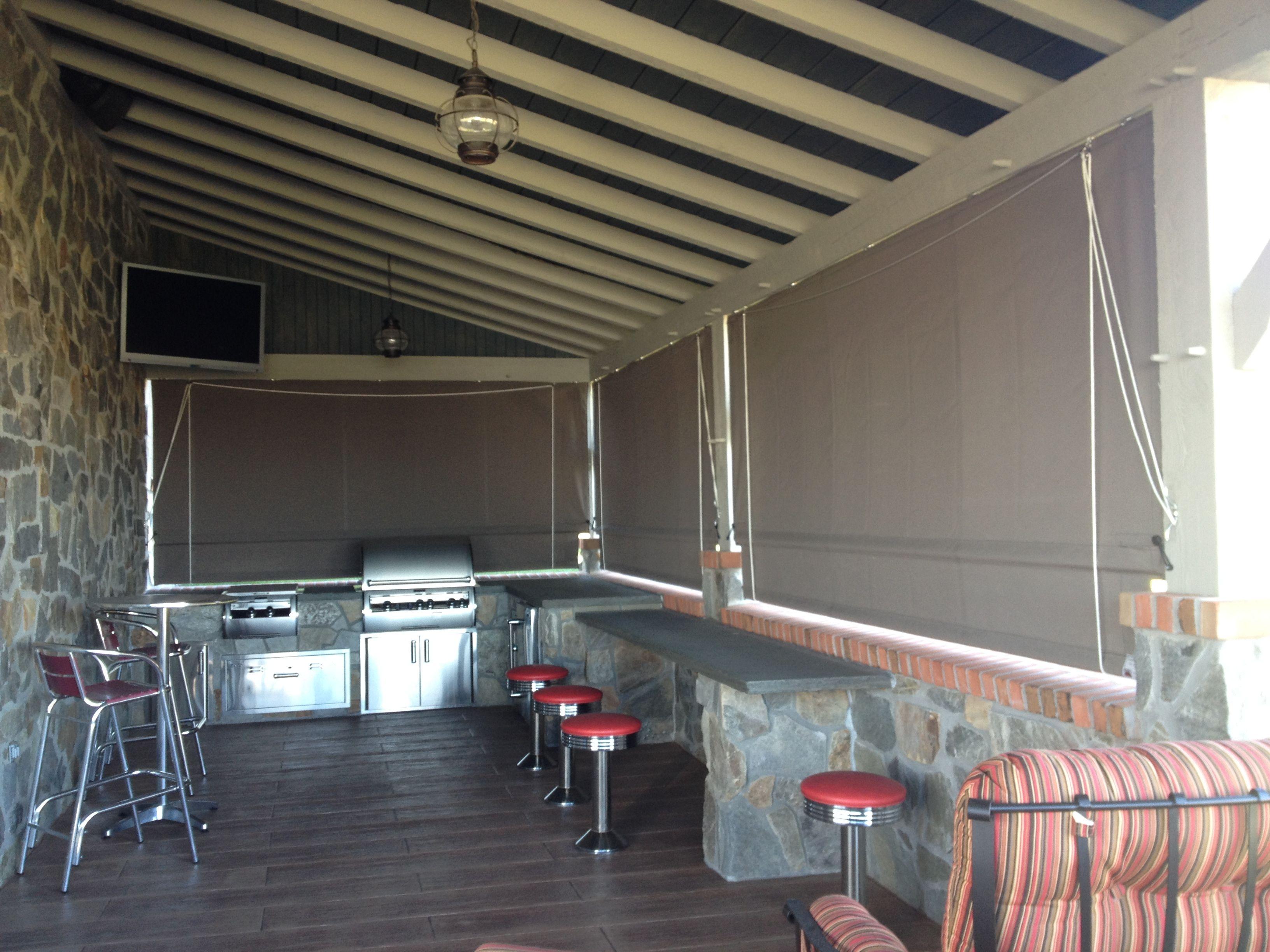 Residential Drop Curtains Providing Shade For An Outdoor Kitchen And Bar Area Curtains Roll Up Out Of The Way Outdoor Kitchen Screened Porch Curtains Outdoor