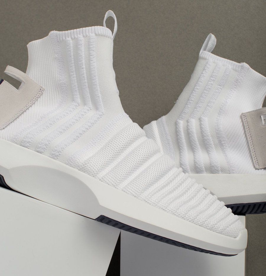 brand new 2cabb b8412 adidas Crazy 1 ADV Sock Primeknit Triple White