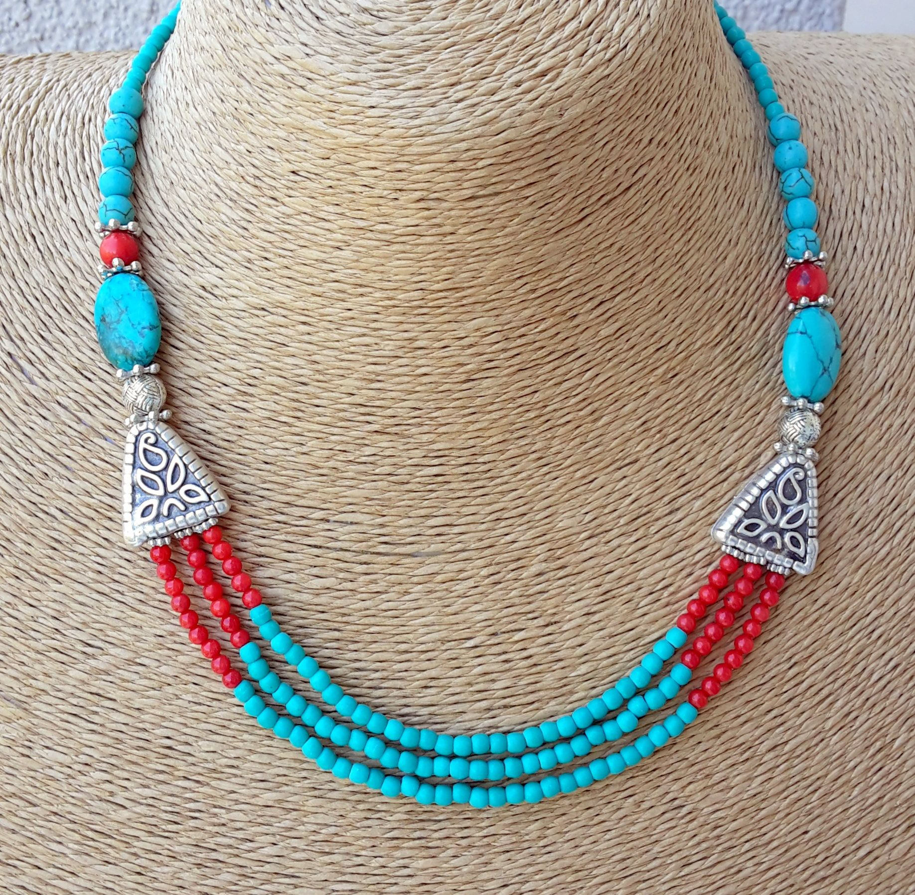 turquoise turquoise necklace coral necklace stylish necklace multi strand necklace by LeNuJewellery on Etsy