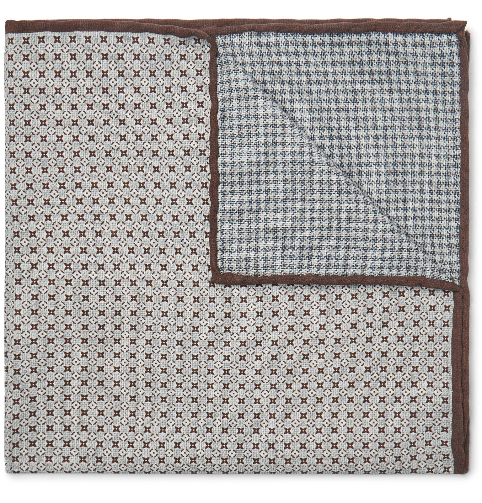 Brunello Cucinelli - Reversible Printed Silk Pocket Square - Men - Gray #pocketsquares