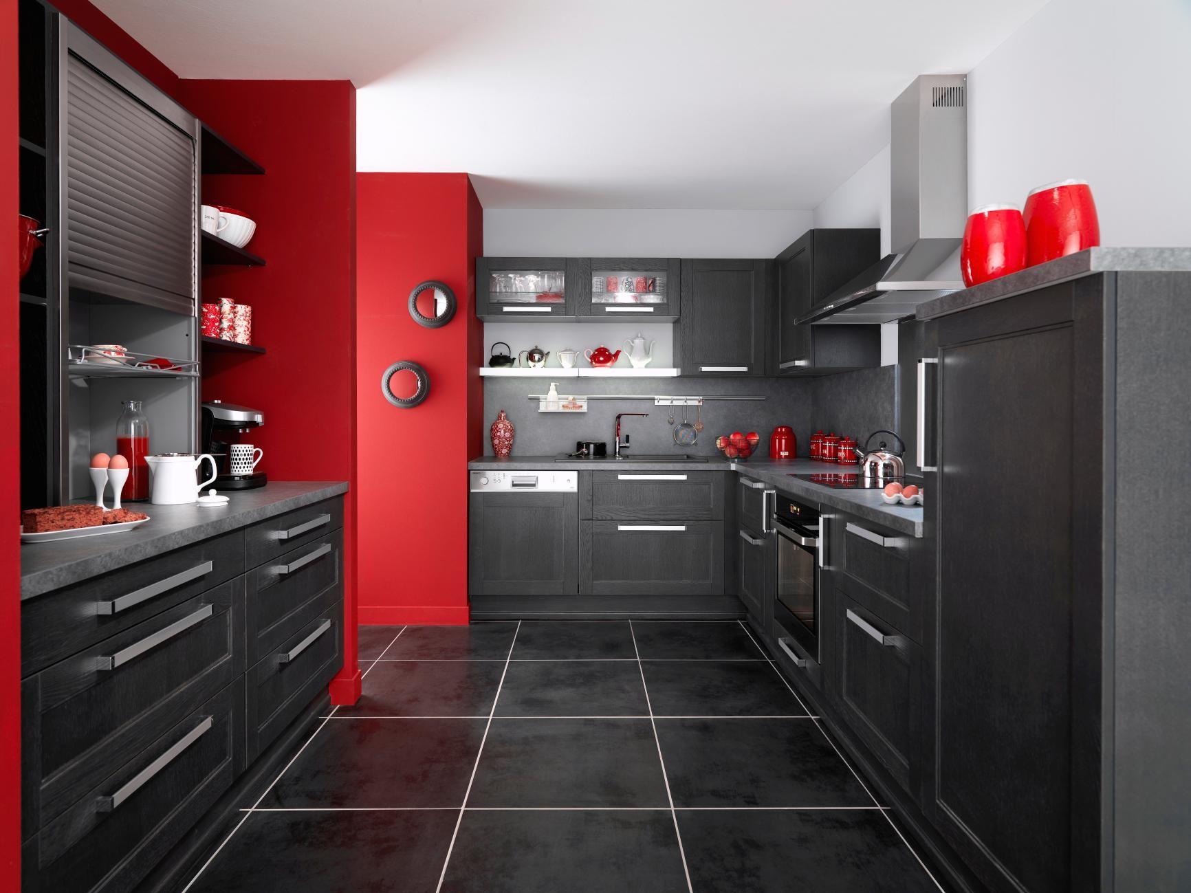 Photo : Lapeyre  Cuisine gris, Déco cuisine rouge et Cuisine noire
