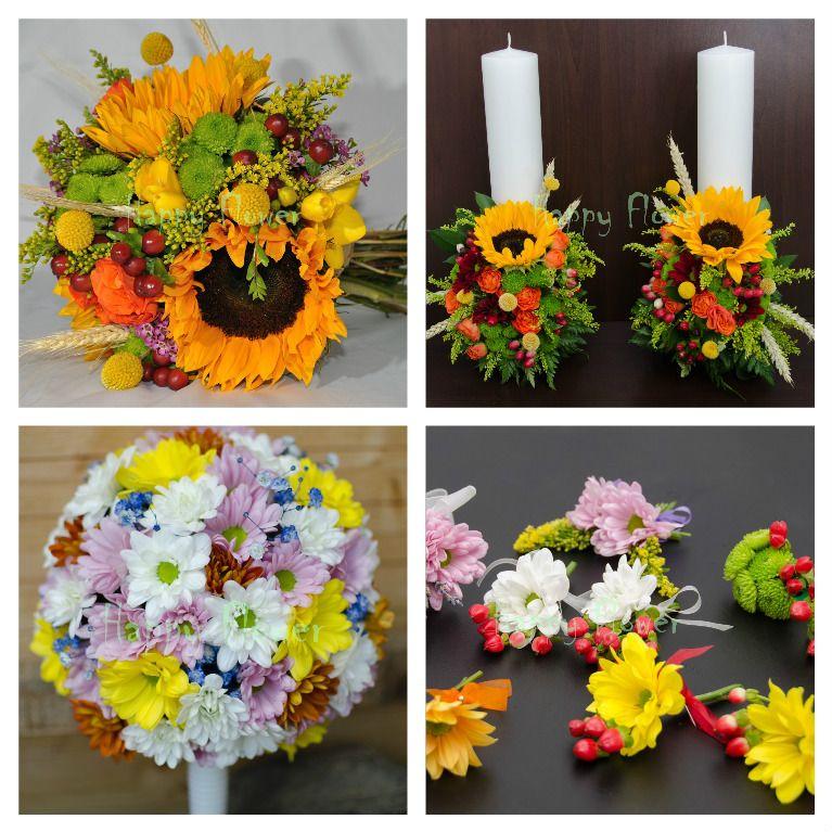 Pachet Flori Nunta Floarea Soarelui 3 Floral Floral Wreath Wreaths
