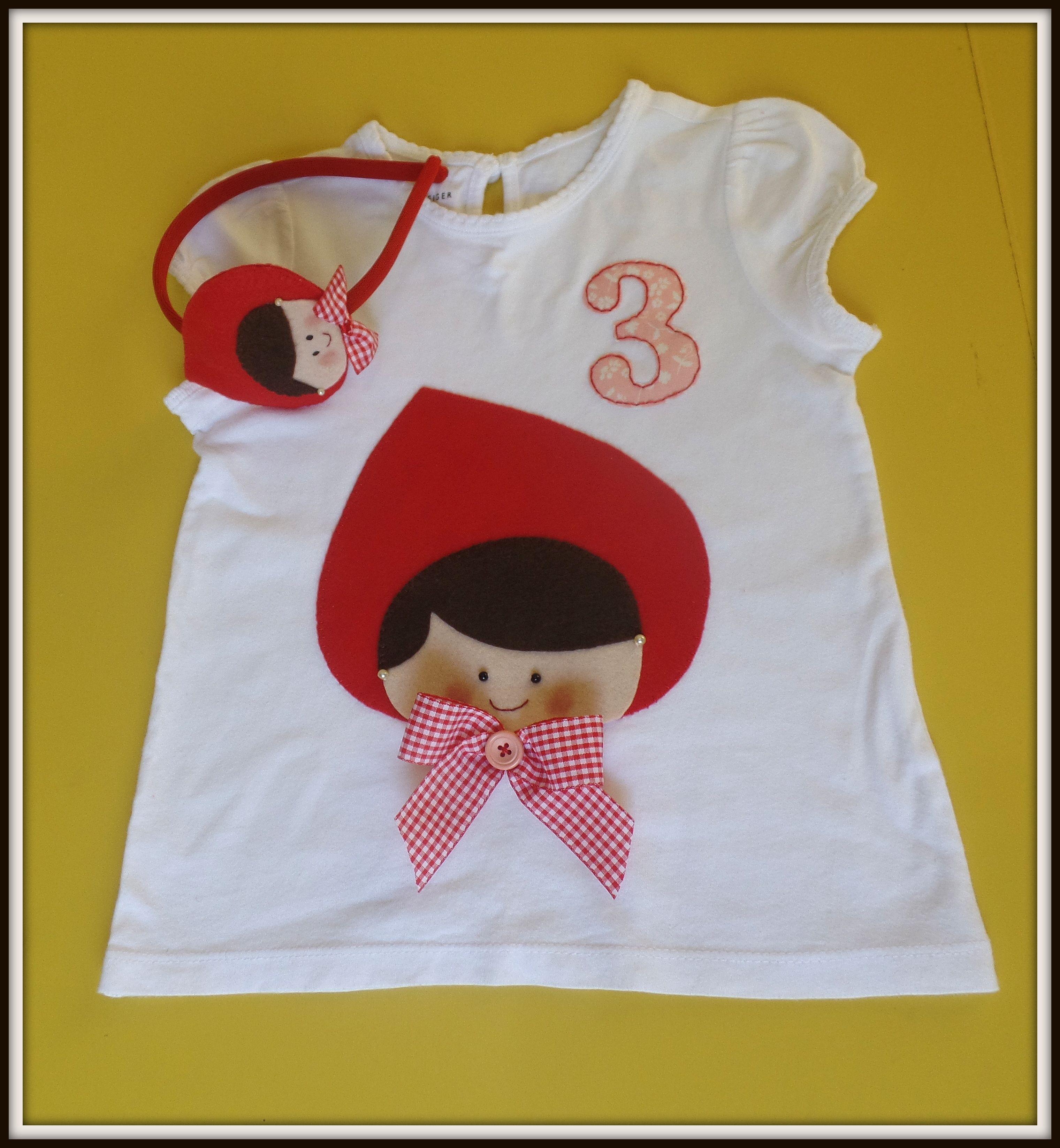 e5f737fcd0 Camiseta bebê menina personalizada aniversário tema chapeuzinho vermelho