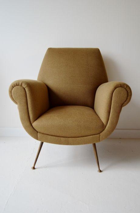 1950s Italian armchair. Reupholstered in Ralph Lauren burke wool. #midcentury #chair