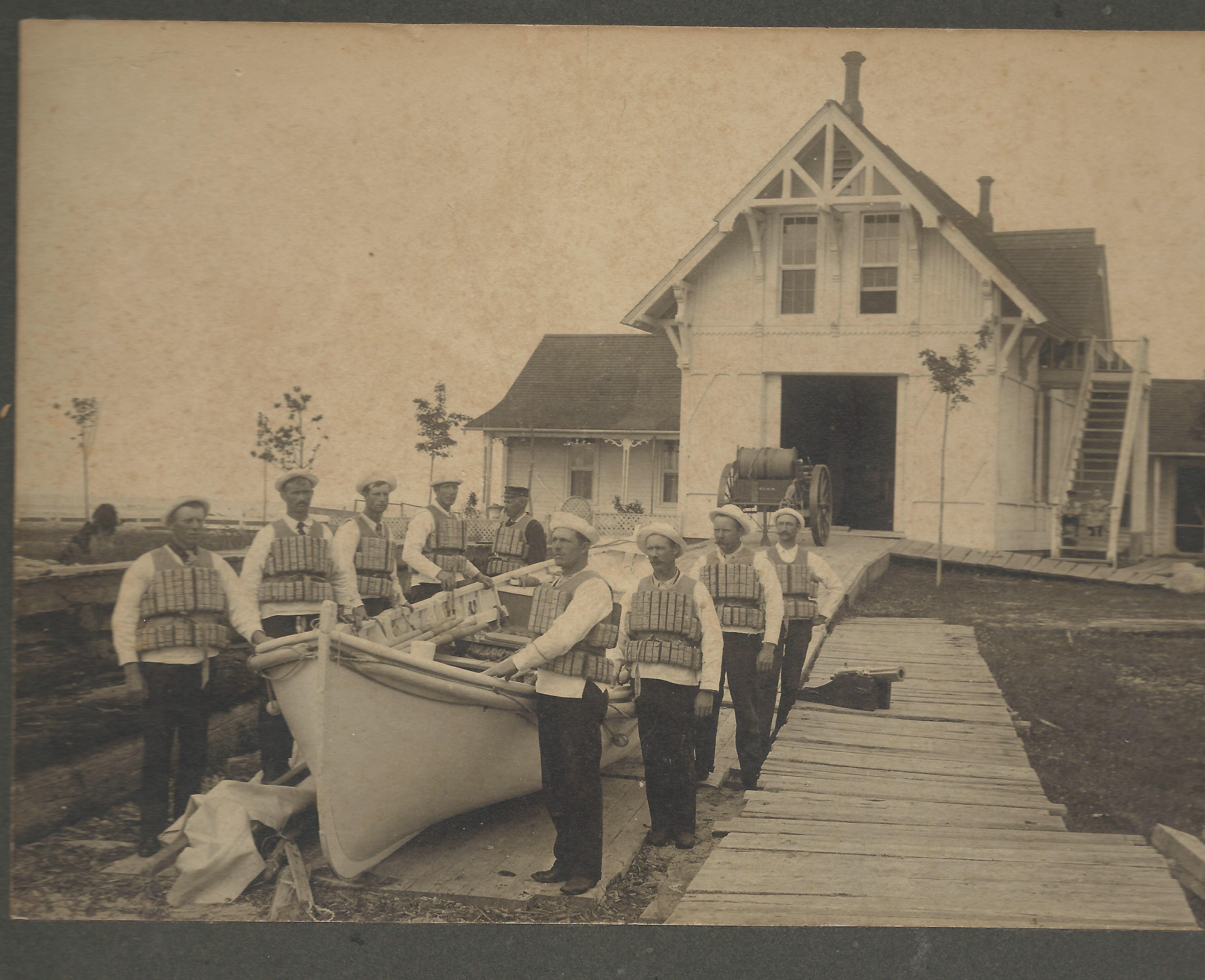 Two Heart Bay Life Saving Station, lifeboat crew, Michigan, 1902