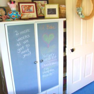 Wardrobe with homemade chalkboard paint on the doors