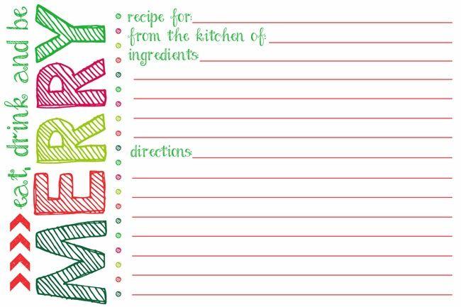 Printable Holiday Recipe Card Recipe Cards Template Christmas Recipe Cards Holiday Recipe Card
