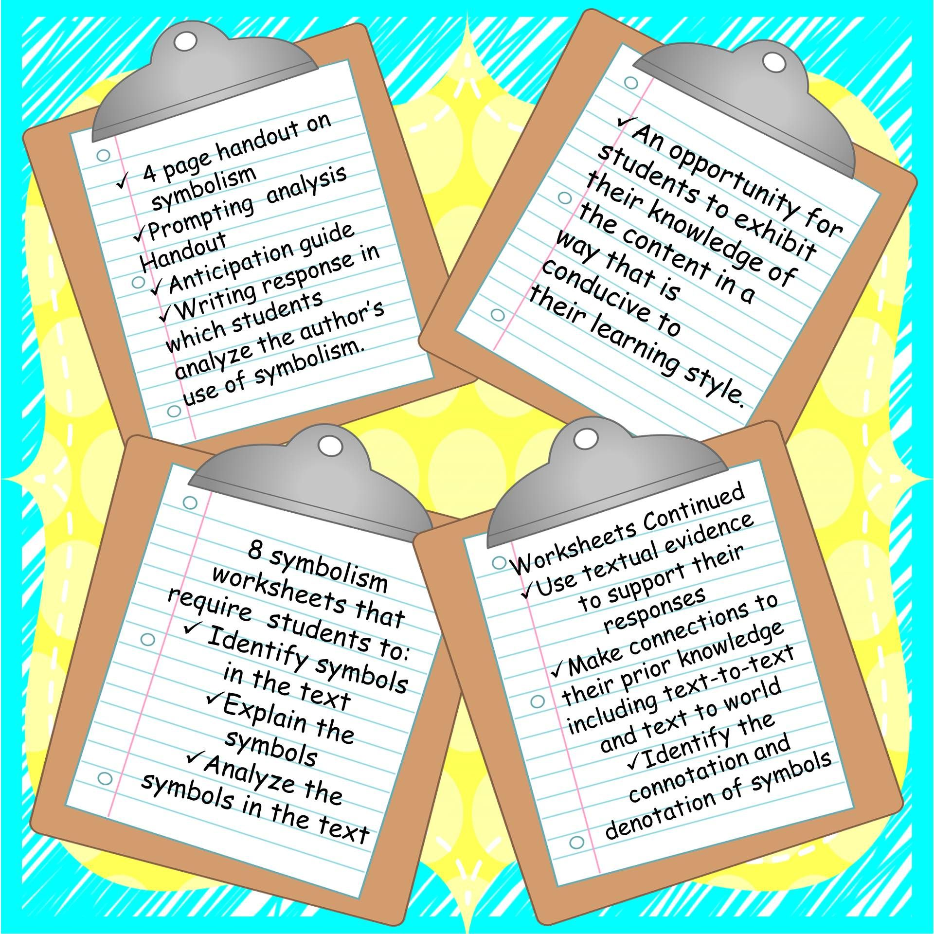 Symbolism Graphic Organizers And Handout For Elementary And Middle