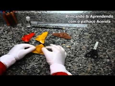 Como fazer Borboleta em 3D de origami com o palhaço Acerola