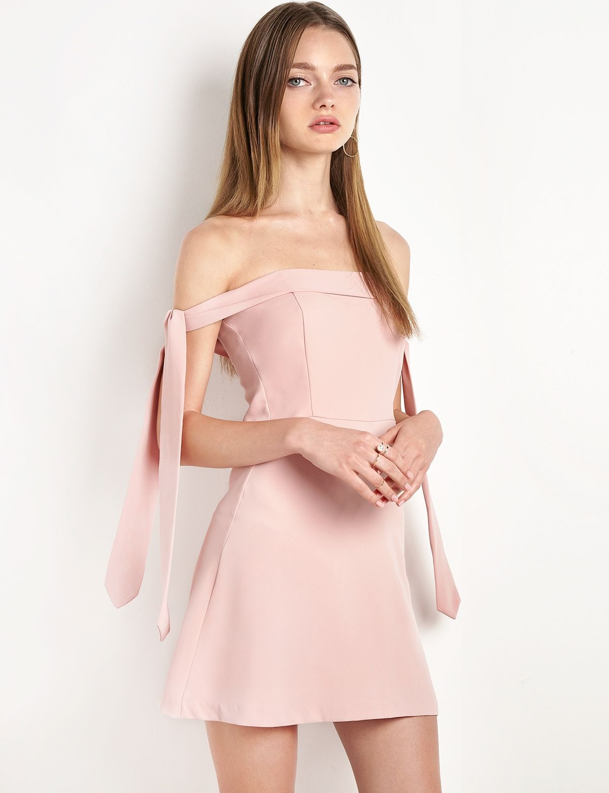 Blush Anika Arm Sleeve Tie OTS Dress by New Revival | My Style ...