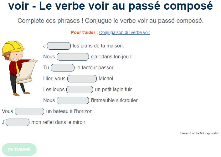 Exercice De Conjugaison Le Verbe Voir Au Passe Compose Exercice De Francais Cm1 Passe Compose Exercices Conjugaison