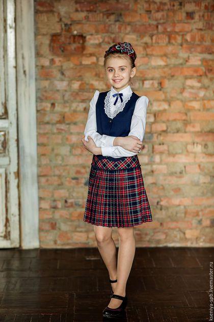 Школьная юбка синяя в клетку купить