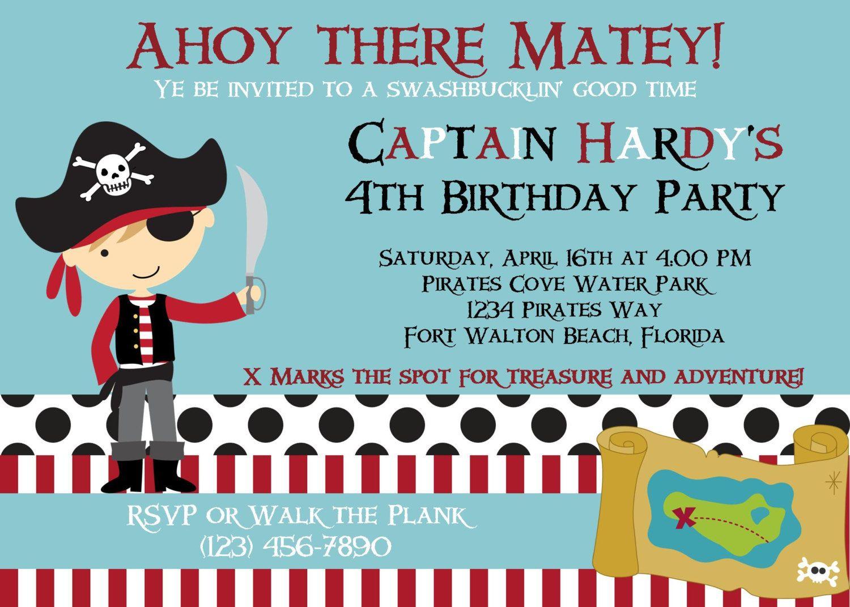 Pirate Birthday Invitation Pirate Party Invitations Printable or – Pirate Party Invite