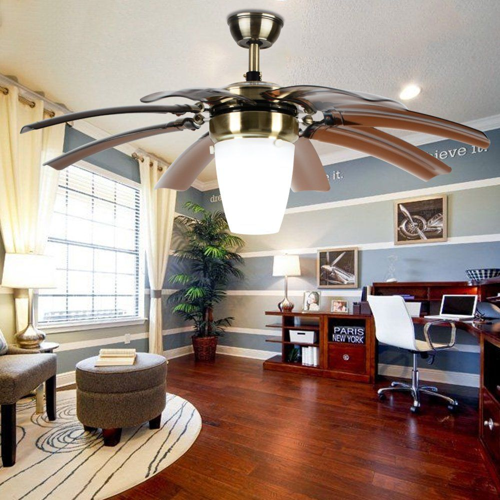 Luxurefan Modern Simple Ceiling Fan Light For Living Room Bedroom With 8 Retractable Abs Leaves And Remote Control Take Off Chandeliers Of 42inch Brown