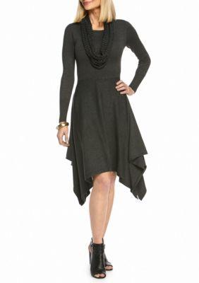 6b94e6f09fa Lennie for Nina Leonard Charcoal Hankie Hem Sweater Dress with Crochet  Infinity Scarf