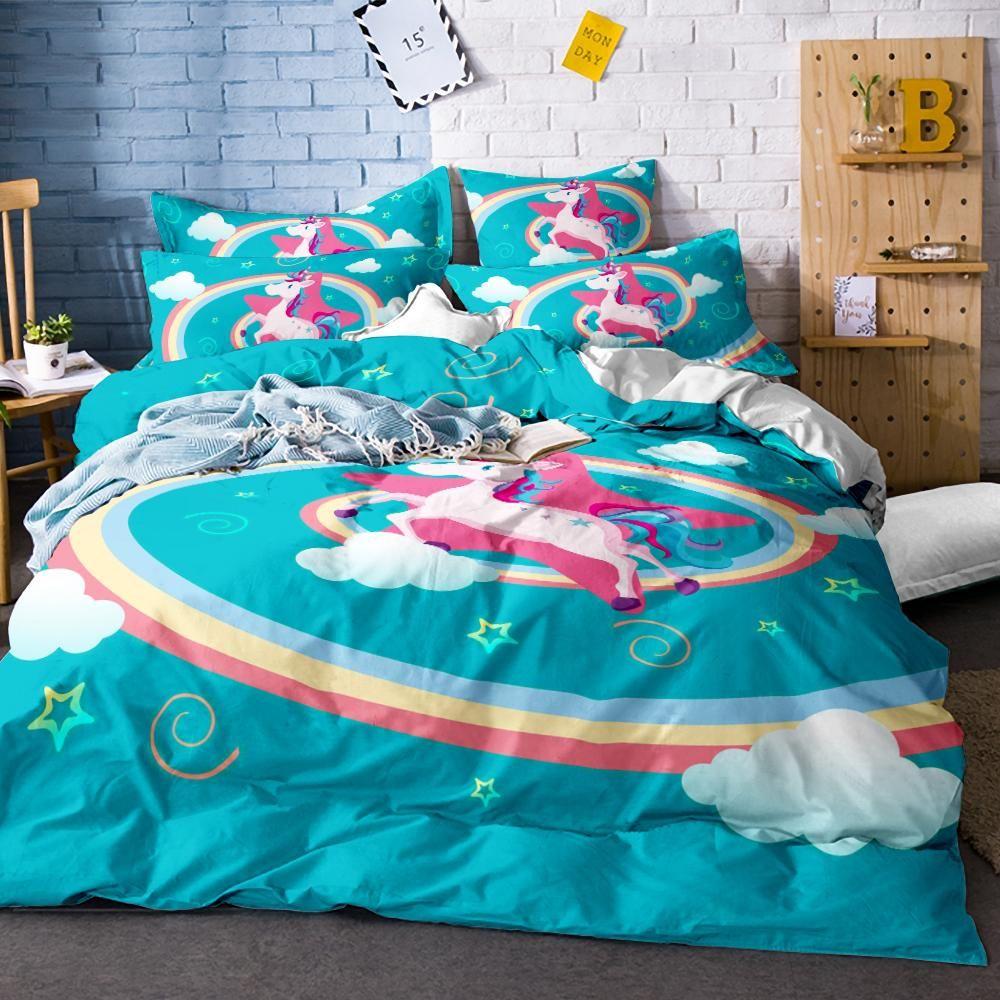 c0042fe4e149 Cute Unicorn Bedding Set Cartoon Duvet Cover Twin Full Queen King Size –  Costbuys