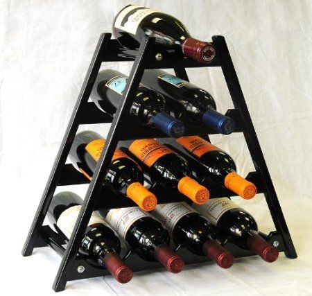 Amazon Com Wine Rack Wood 10 Bottles Hardwood Stand Walnut