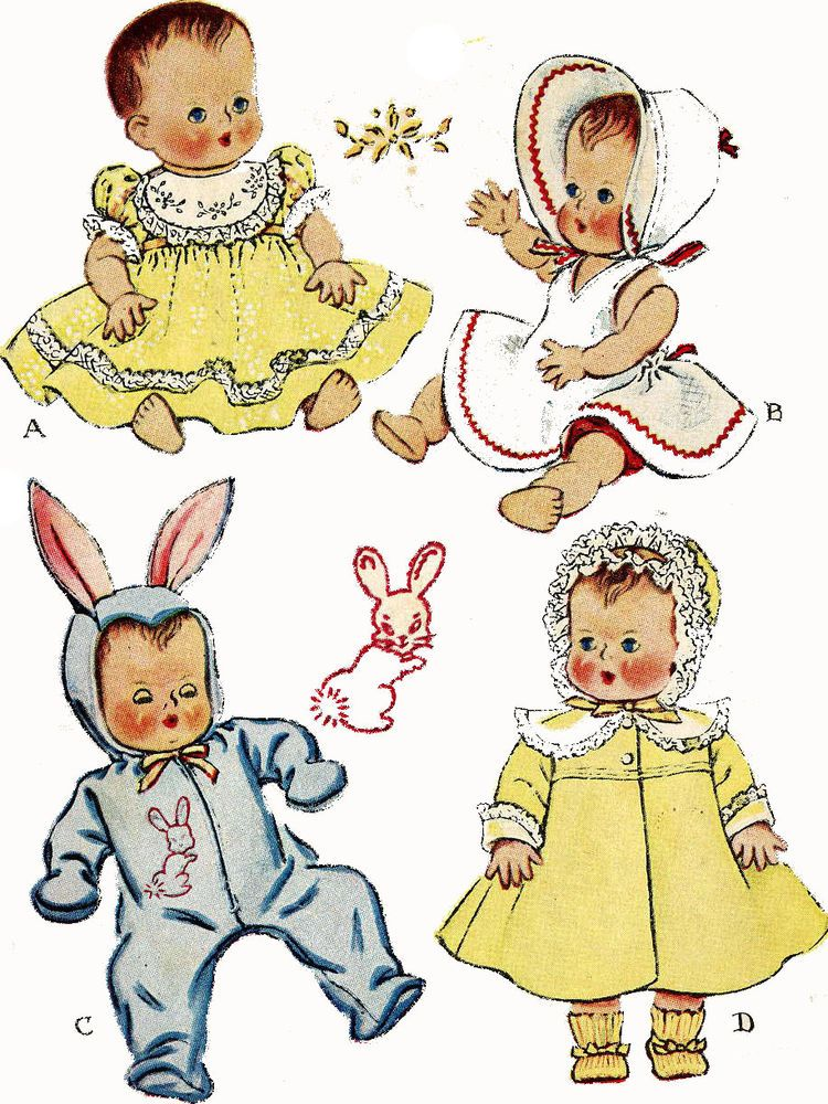 1657 Vintage Doll Clothes Pattern 13 inch Baby Dolls