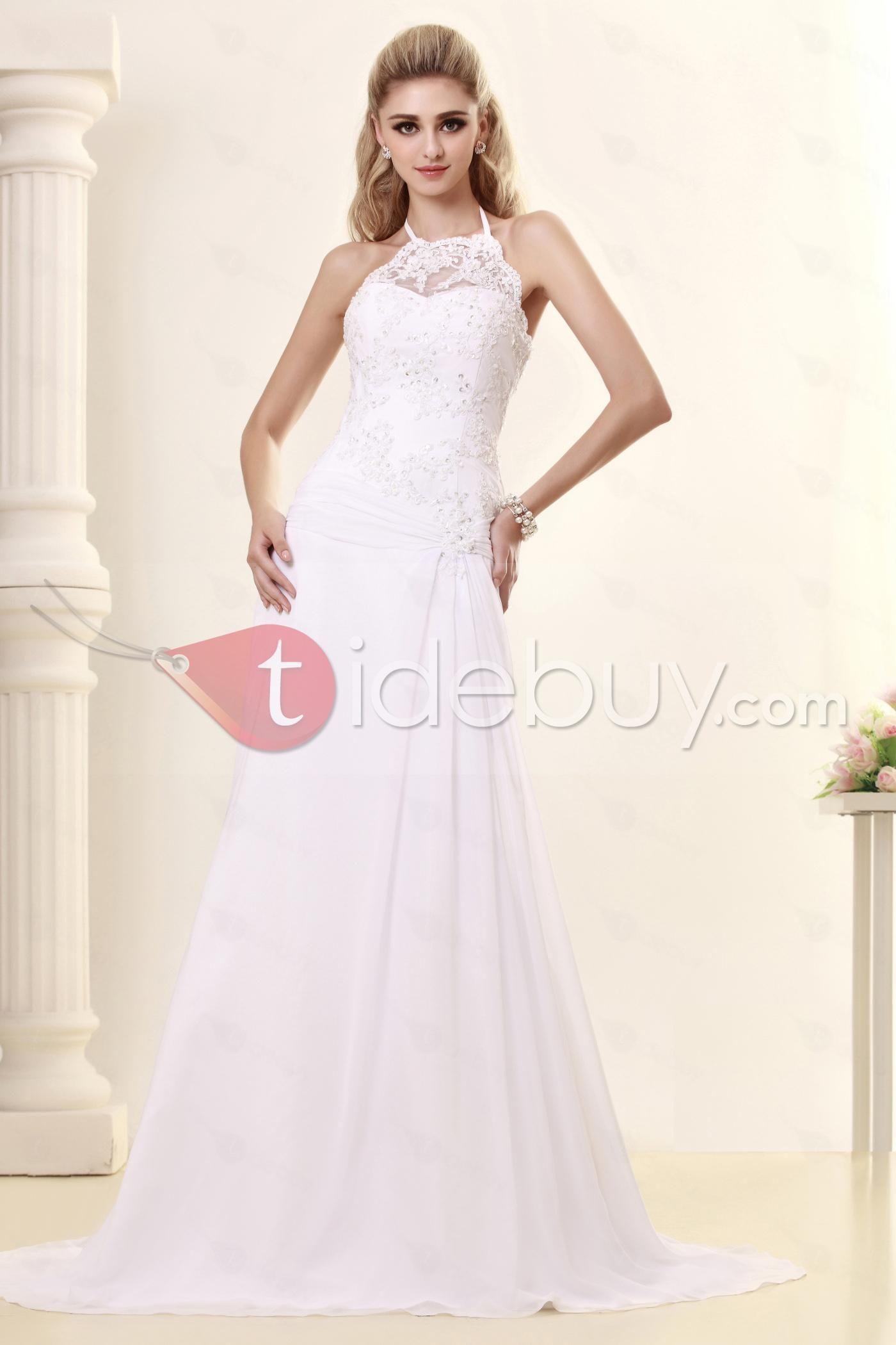 Fancy sheathcolumn highneck sweep train dashaus wedding dress