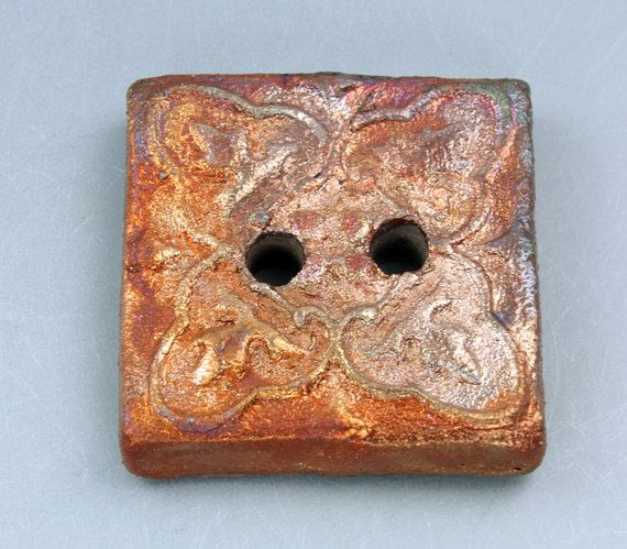 Square 2hole handmade Raku Button by elementspottery on Etsy, $7.00
