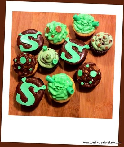 shrek cupcakes