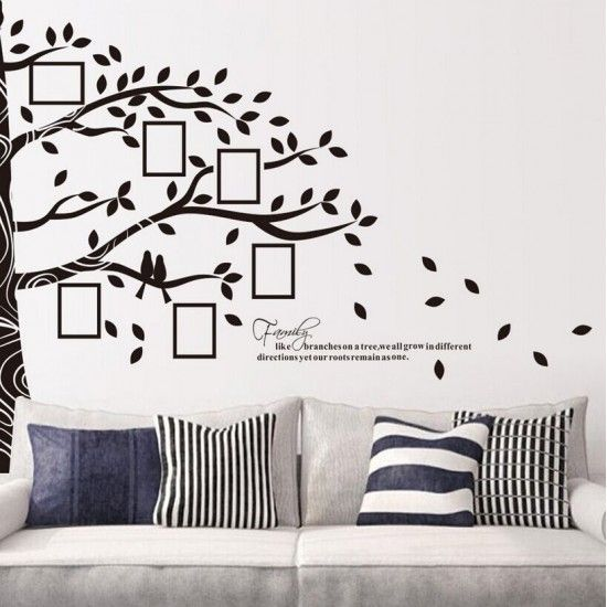 Picture Photo Frame Half Tree Wall Sticker - Family Tree Wall Decal ...