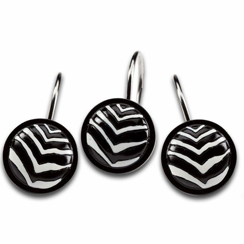 Zebra Black And White Shower Hooks Shower Curtain Hooks White Shower Zebra