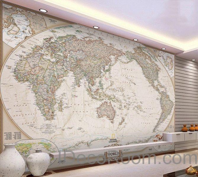 Classic HD World Map D Wallpaper Wall Decals Wall Art Print Mural - Wall decals hd