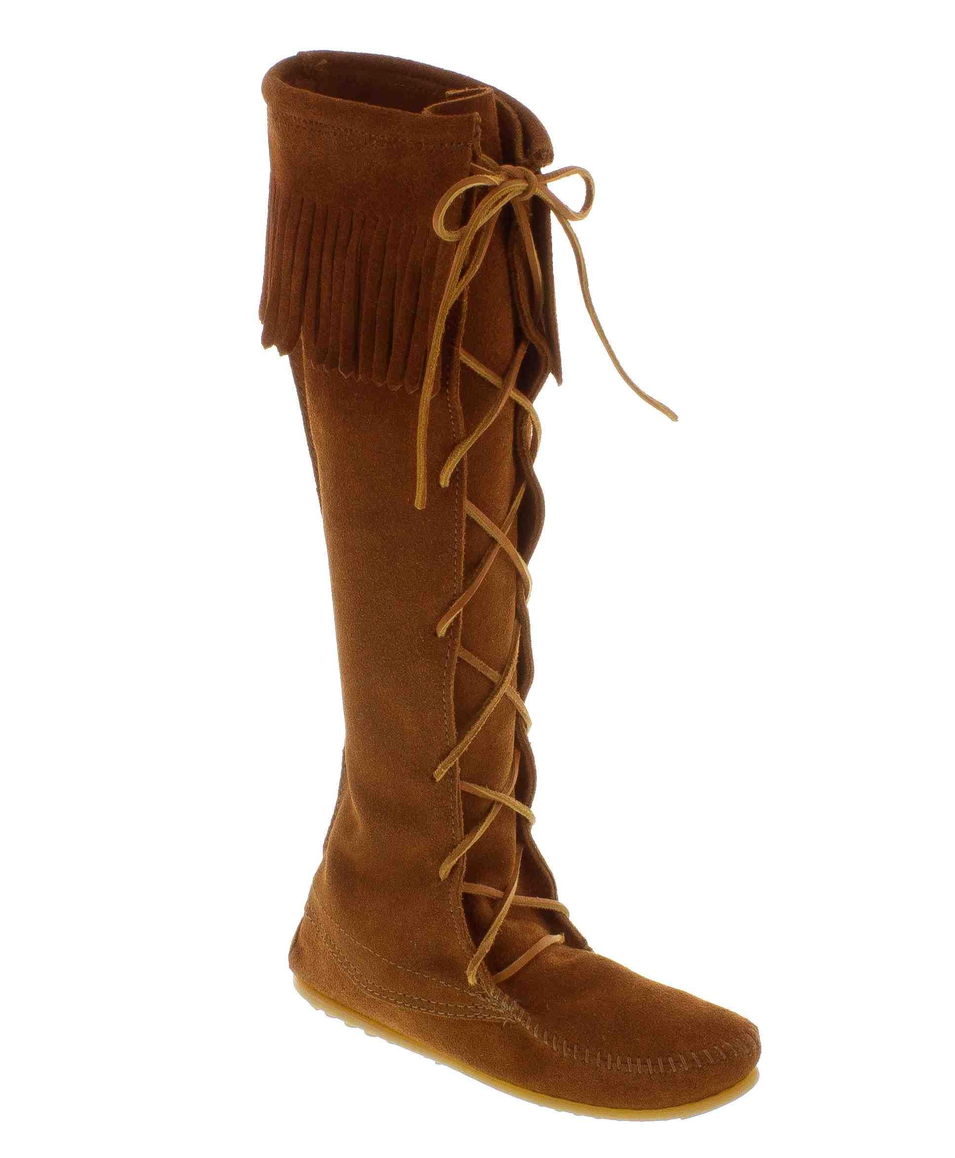 Minnetonka suede leather knee high tall lace up moccasin fringe boots - The Classic Fringe Boot Love Minnetonka Front Lace Hard Sole Knee Hi Boot