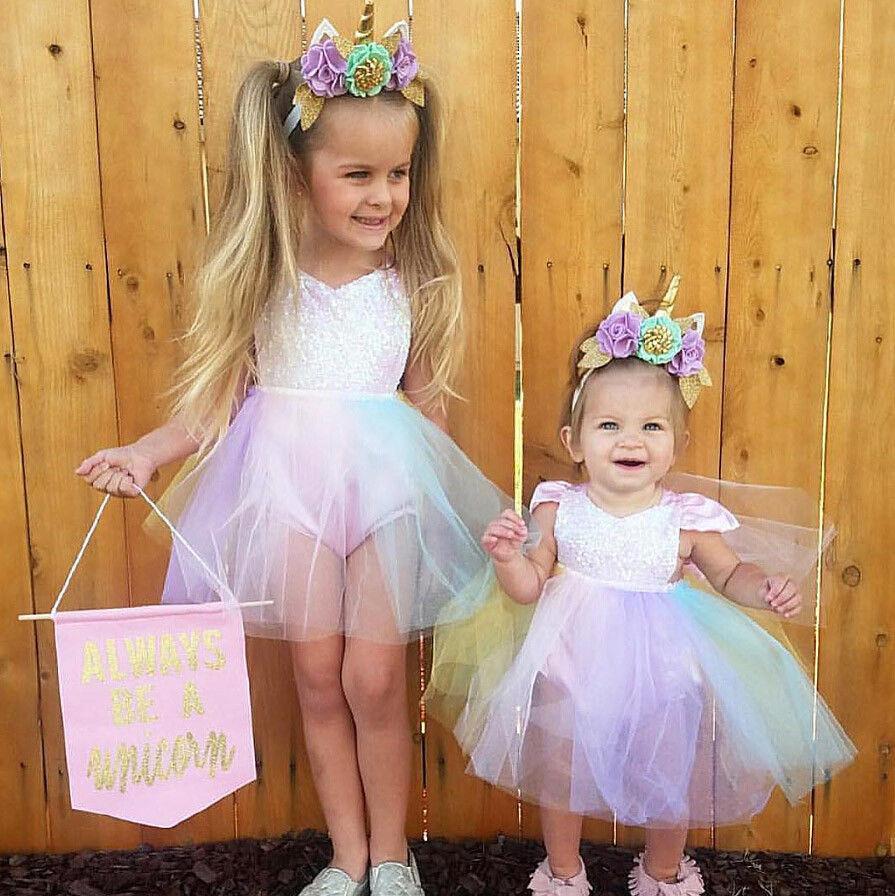 Cute baby girl sequins princess party dresse kids rainbow