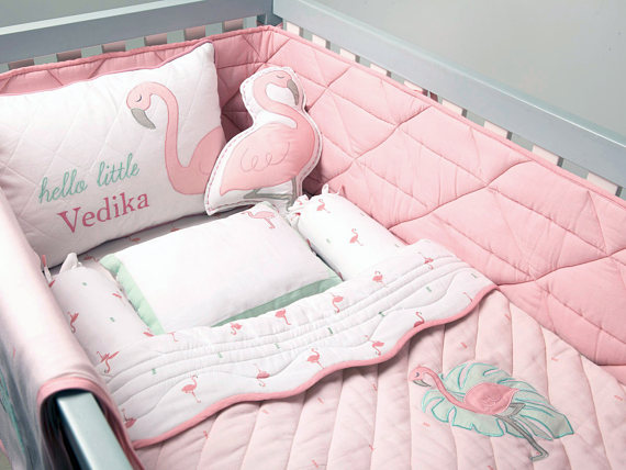 Hello Flamingo Organic Cot Bedding Set Custom Nursery Crib Baby Bed Cot Bedding Sets Baby Bedding Sets