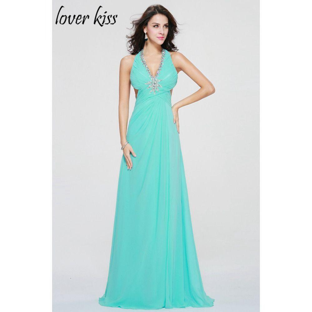 >> Click to Buy <<  Vestido De Festa Plus Size Formal Prom Dresses Beautiful Sleeveless Crystal Sexy V Neck Halter Chiffon Prom Dress  #Affiliate